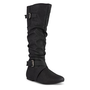 Twisted Women's Faux Leather Slouchy Buckle Strap Mid Calf Boots