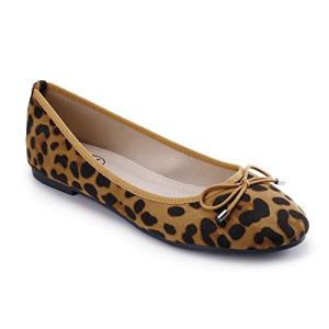 Trary Women's Classic Round Toe Slip on Ballet Flat Shoes Leopard Suede 09