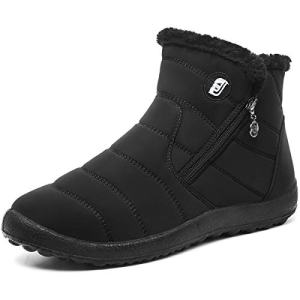 L-RUN Womens Snow Boots Fur Lined Ankle Snow Booties Outdoor Slipper