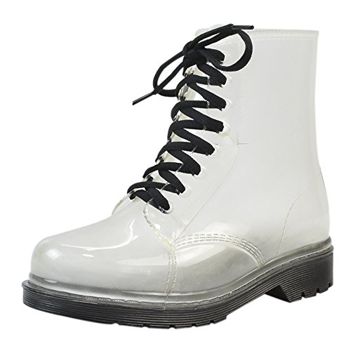 QZUnique Women's Transparent Waterproof Jelly Rain Boots
