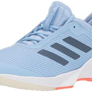 adidas Women's Adizero Club Tennis Shoe, Glow Blue/tech Ink/hi-res Coral