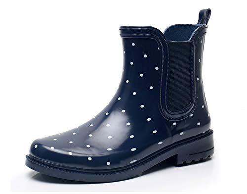 SOLARRAIN Women's Elastic Short Ankle Rubber Rain Boots Non Slip Waterproof