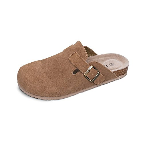 TF STAR Unisex Boston Soft Footbed Clog Cow Suede Leather Clogs
