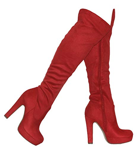 MVE Shoes Women's Thick Heel Platform Over The Heel Boots