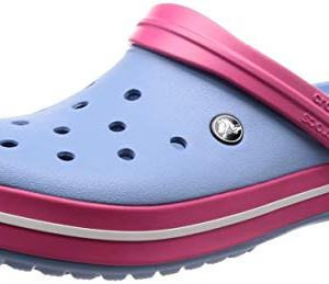 crocs unisex-adult Crocband Clog, chambray blue/paradise pink