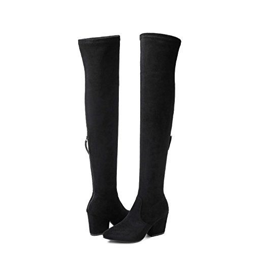 Mtzyoa Thigh High Block Heel Boot Women Pointed Toe Stretch Over