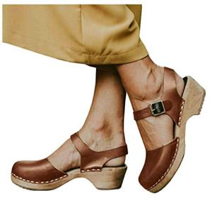 LAICIGO Women's Wood Clog Heeled Sandals Chunky Closed
