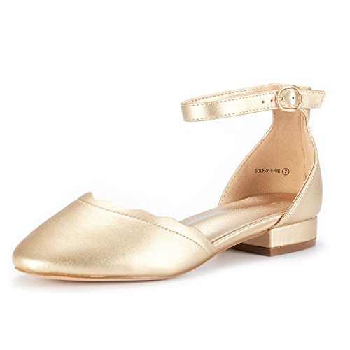 DREAM PAIRS Women's Sole_Vogue Gold/PU Fashion Low