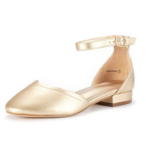 DREAM PAIRS Women's Sole_Vogue Gold/PU Fashion Low