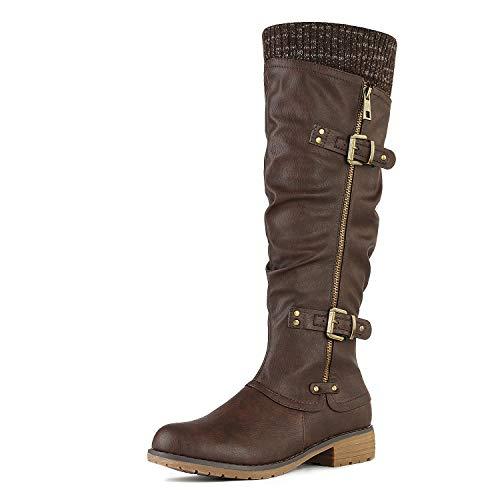 DREAM PAIRS Women's Depp Brown Knee High Boots