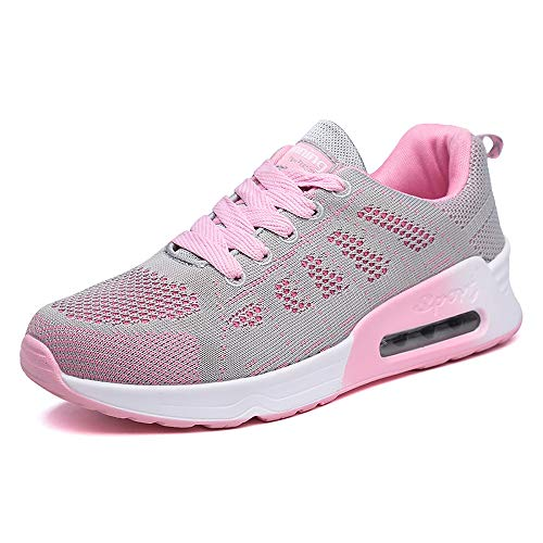 xuanyu Women Gym Shoes Lightweight Breathable Fashion Walking Sneakers Tennis Athletic Jogging Sport Fitness Golf Running Shoes Pink 6.5 US