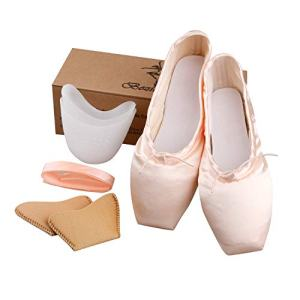 KUKOME Professional Ballet Pointe Shoes Stain Dance Shoes with Silicone Toe Pads and Sewn