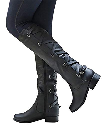 Kathemoi Womens Knee High Boots Lace Up Strappy Fall Winter Flat