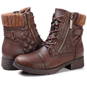 STQ Ankle Boots for Women Zipper Work Booties Chunky Low Heels