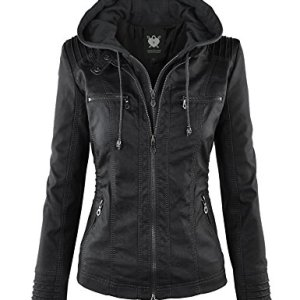 Lock and Love Womens Removable Hoodie Motorcyle Jacket M Black