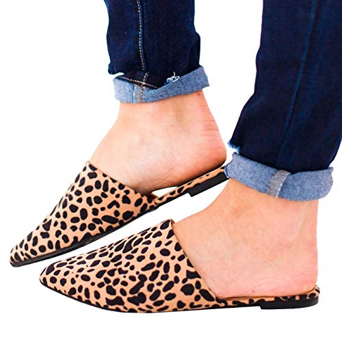 FISACE Womens Leopard Backless Slip On Pointed Toe Flat Sandals