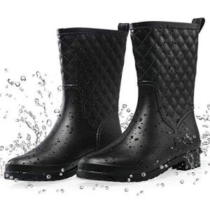 Petrass Women Rain Boots Black Waterproof Mid Calf Lightweight Cute Booties