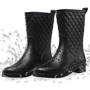Petrass Women Rain Boots Black Waterproof Mid Calf Lightweight Cute Booties