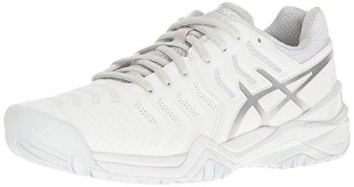 ASICS Women's Gel-Resolution 7 Tennis Shoe, White/Silver