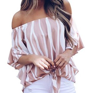 Asvivid Womens Striped Tube Ruffle Short Sleeve Tee Tops Ladies