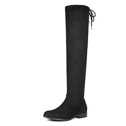 DREAM PAIRS Women's Overide Black Low Heel Thigh High Over The Knee