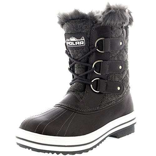 Polar Products Womens Snow Boot Quilted Short Winter Snow Rain
