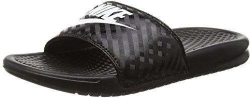 Nike Women's Benassi Just Do It Sandal, Black/White