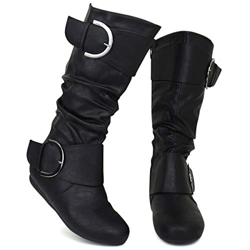 Premier Standard - Round Toe Mid Calf Boots - Low Heel Buckle Slouch Boots