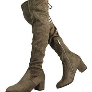 DREAM PAIRS Women's New Portz Khaki Over The Knee