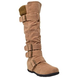 Generation Y Women's Mid Calf Knee High Boots Ruched Sweater