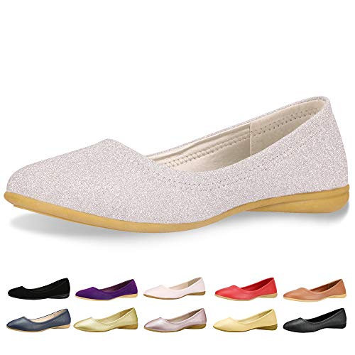 CINAK Flats Shoes Women- Slip-on Ballet Comfort Walking Classic Round Toe Shoes (8-8.5B(M)US/CN40/9.84'', Silver)