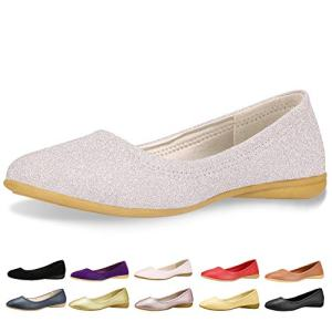 CINAK Flats Shoes Women- Slip-on Ballet Comfort Walking Classic Round Toe Shoes (8-8.5 B(M) US/ CN40 / 9.84'', Silver)