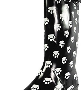 NORTY - Womens Hurricane Wellie Gloss Hi-Calf Paw Printed Rain Boot