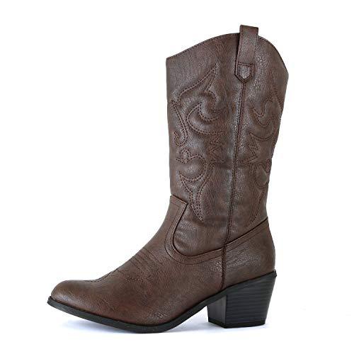 West Blvd Miami Cowboy Western Boots, Brown Pu