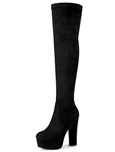 Allegra K Women's Platform Block Heel Black Over Knee High Boots