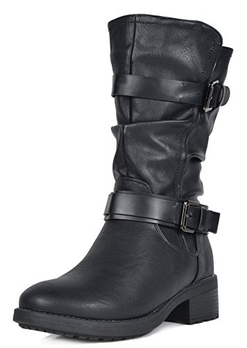 DREAM PAIRS Women's Pocono Black Faux Fur Mid Calf Riding
