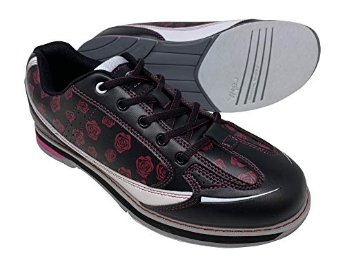 SaVi Bowling Women's Roses Black/Red/White Bowling Shoes