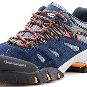 QOMOLANGMA Women's Suede Hiking Shoes Walking Sneakers Outdoor