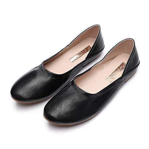 GUCHENG Women's Ballet Flats Comfortable Flat Ladies Round Toe Shoes