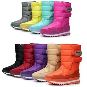 DADAWEN Women's Waterproof Frosty Snow Boot Black