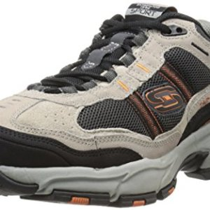Skechers Sport Men's Vigor 2.0 Trait Memory Foam Sneaker, Taupe/Black, 8 XW US