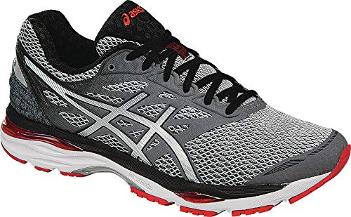 ASICS Men's Gel-Cumulus 18 Running Shoe, Carbon/Silver/Vermilion, 6.5 M US