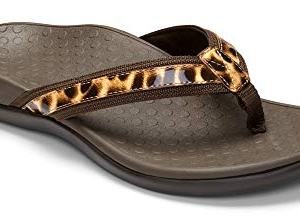 Vionic Women's Tide II Toe Post Sandal - Ladies Flip Flop with Concealed Orthotic Arch Support Brown Leopard 8 Medium US
