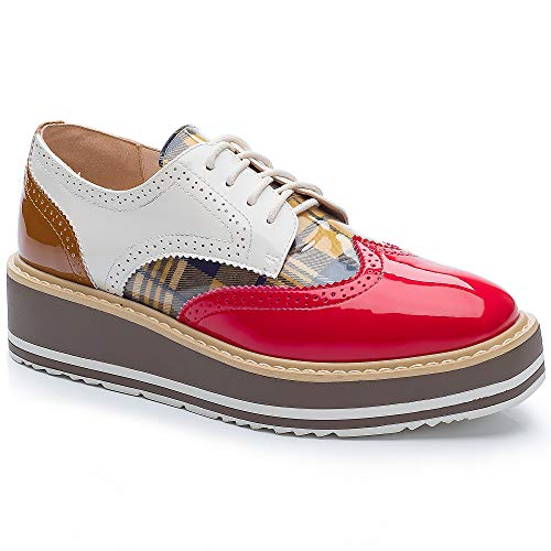 Cetula Handcrafted Lace-up Brogue Plaid Four Seasons Women Oxford Shoes