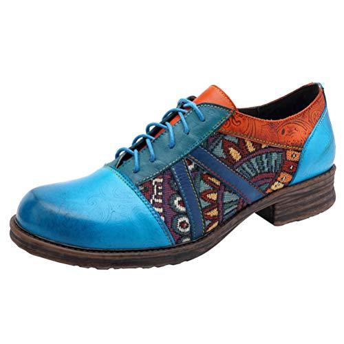 Mordenmiss Women's Bohemian Oxford Shoes Wingtip Heels Ankle Booties
