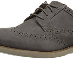CLARKS Men's Raharto Wing Oxford, Grey Nubuck