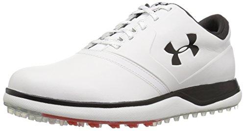 Under Armour Men's Performance SL Leather Golf Shoe, White (100)/Black, 8.5