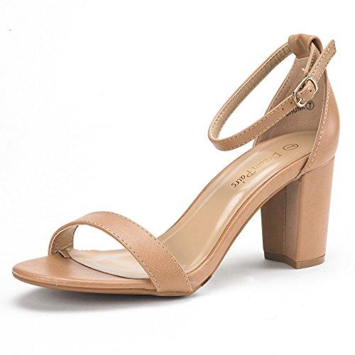 DREAM PAIRS Women's Chunk Nude Pu Low Heel Pump Sandals - 9 M US