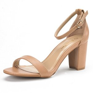 DREAM PAIRS Women's Chunk Nude Pu Low Heel Pump Sandals - 9 M US