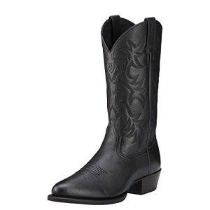 Ariat Men's Heritage Western R Toe Cowboy Boot, Black Deer Tan, 10.5 D US